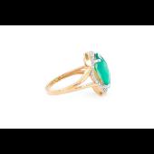 Кольцо с зелёным ониксом и фианитами, красное золото