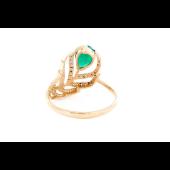Кольцо Перо Жар-Птицы с зелёным ониксом и фианитами, красное золото