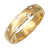 Кольцо с бриллиантами по краям, желтое золото 750 проба