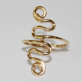 Кольцо на палец ноги Завитушка, желтое золото