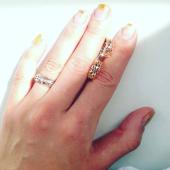 Кольцо Дуэт с растительным орнаментом, красное и белое золото