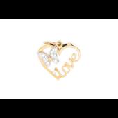 Кулон Сердце с надписью Love, бабочкой и фианитами, красное золото