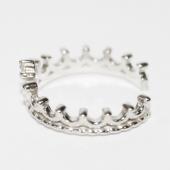 Кольцо Корона с фианитом, белое золото