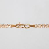 Цепь Двойной ромб с алмазной огранкой, красное золото 585 пробы 3мм