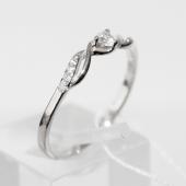 Кольцо, белое золото, узкая шинка, спирали и дорожки с фианитами
