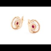 Серьги Колибри с бриллиантами и рубином, красное золото