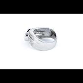 Кольцо с имитацией синей шпинели и фианитами, серебро