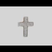 Крест без распятия с бриллиантами, белое золото